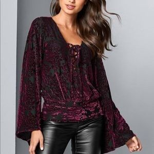 NWT black burgundy lace up top blouse sz med